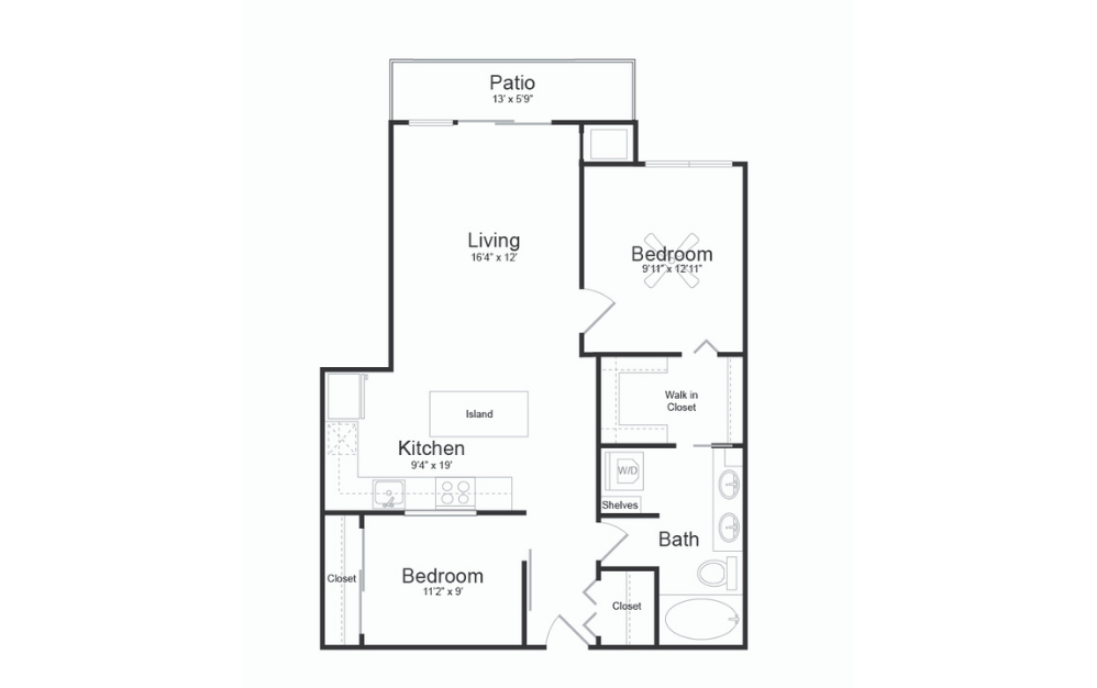 B11 - 2 bedroom floorplan layout with 1 bath and 990 square feet.