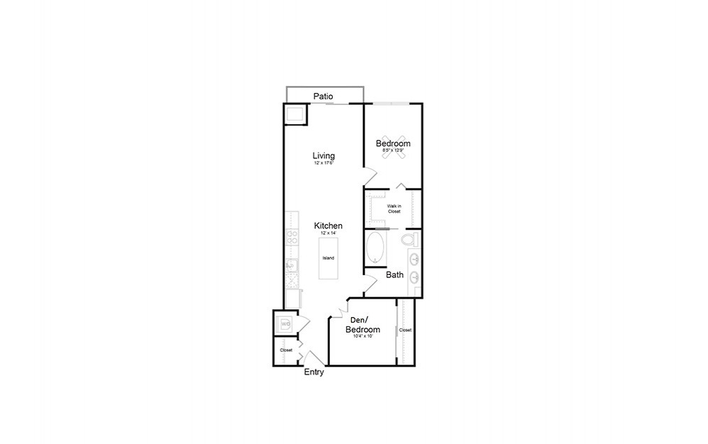 B7 - 1 bedroom floorplan layout with 1 bath and 893 square feet.