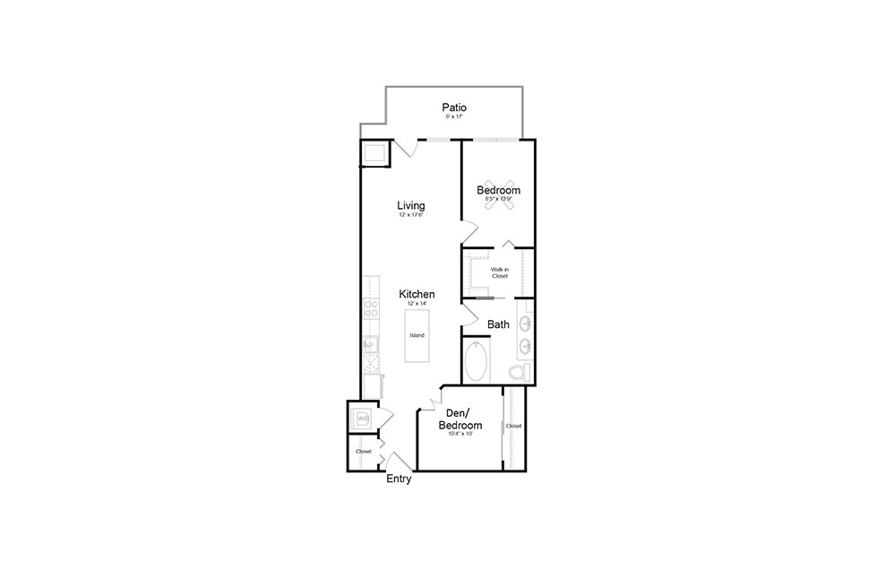 B8 - 1 bedroom floorplan layout with 1 bath and 893 square feet.