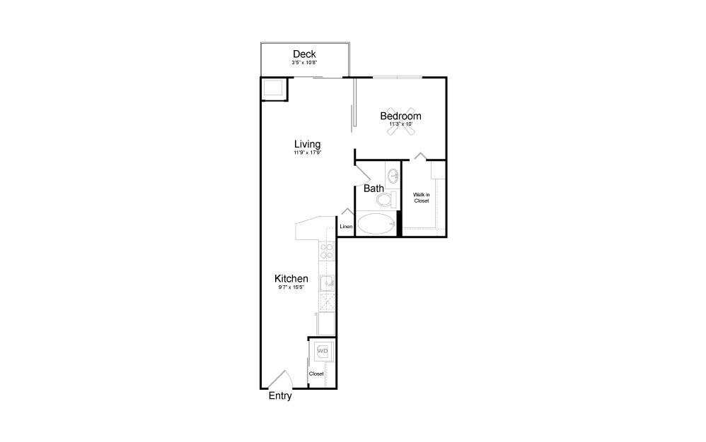 A16 - 1 bedroom floorplan layout with 1 bath and 712 square feet.