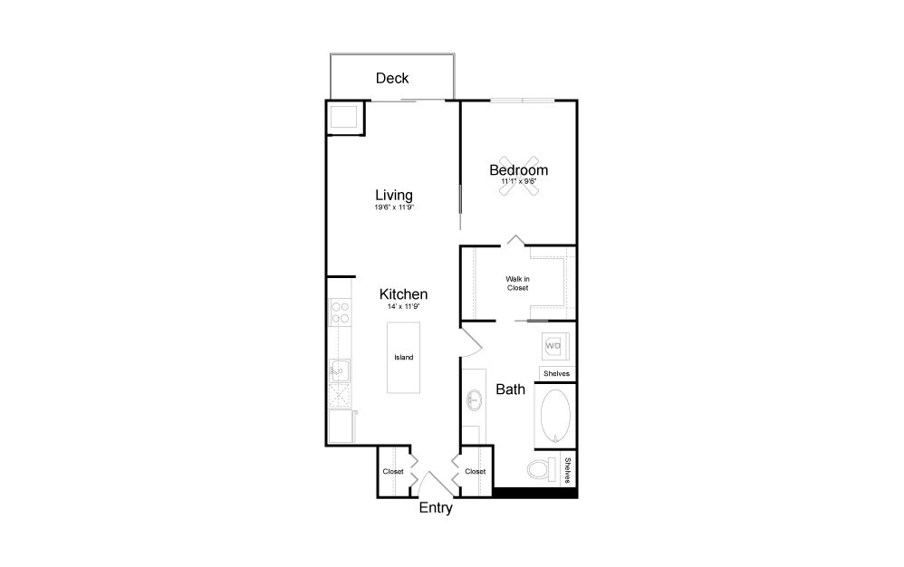 A18 - 1 bedroom floorplan layout with 1 bath and 730 square feet.