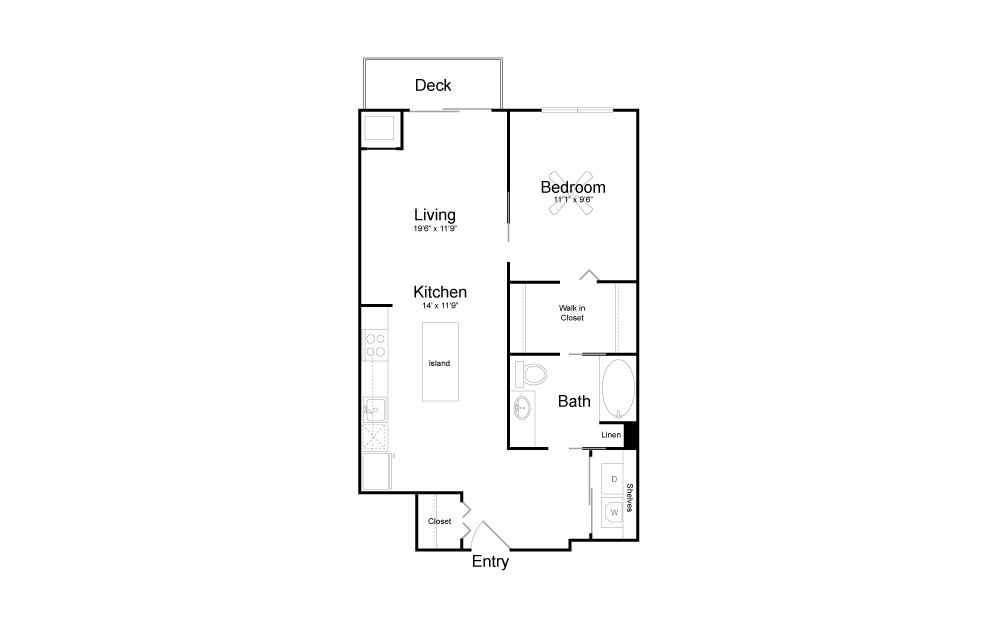 A19 - 1 bedroom floorplan layout with 1 bath and 730 square feet.