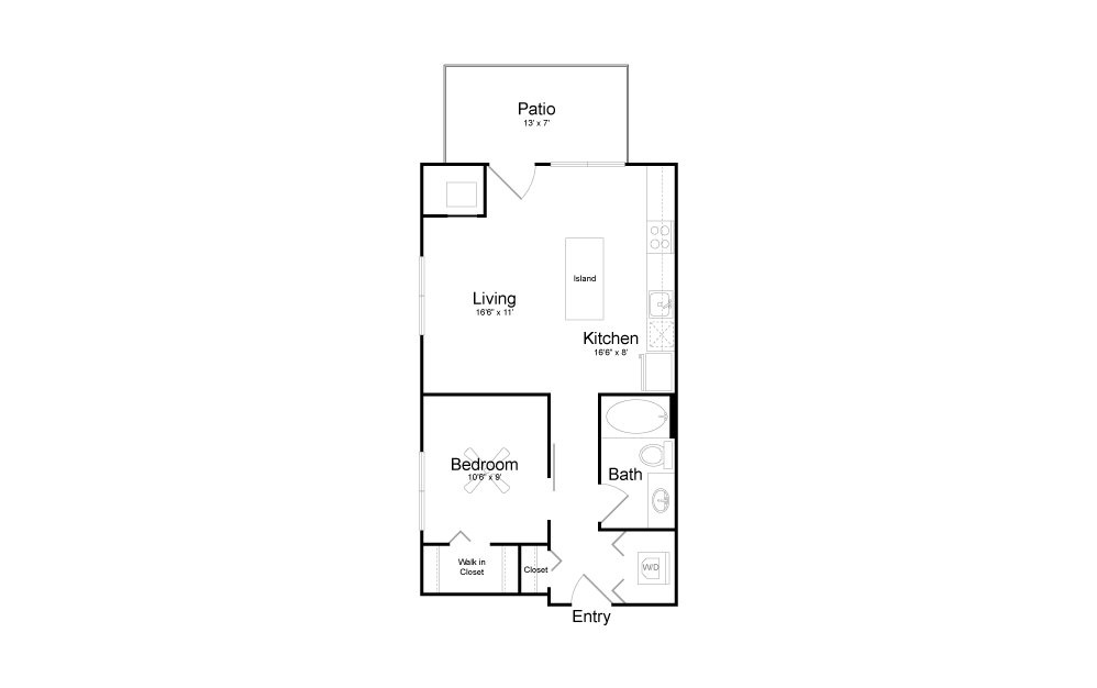 A02 - 1 bedroom floorplan layout with 1 bath and 640 square feet.