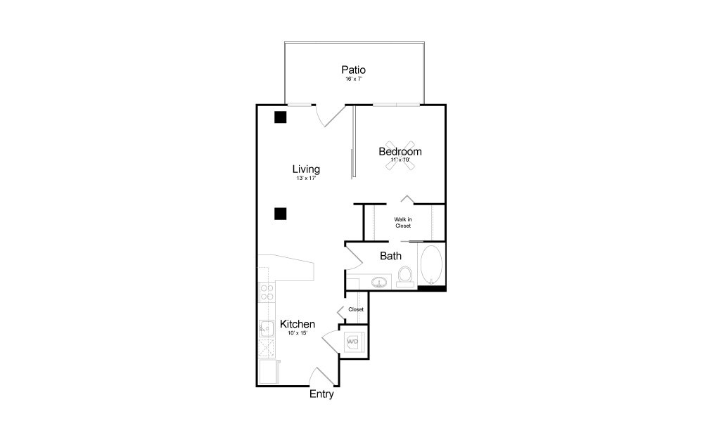 A3 - 1 bedroom floorplan layout with 1 bath and 640 square feet.