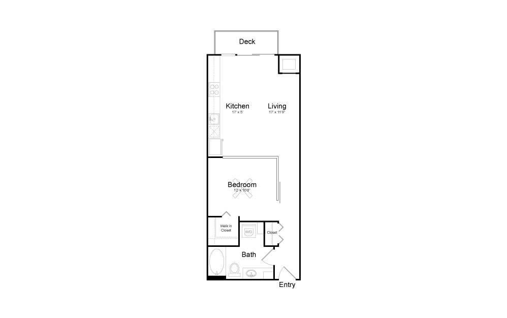 A5 - Studio floorplan layout with 1 bath and 646 square feet.