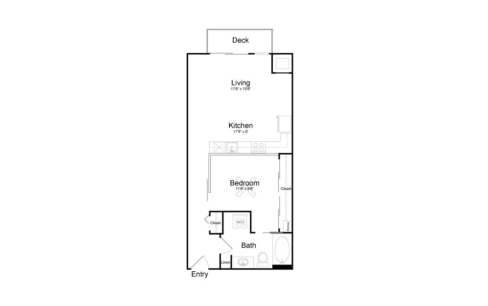 A8 - Studio floorplan layout with 1 bath and 673 square feet.