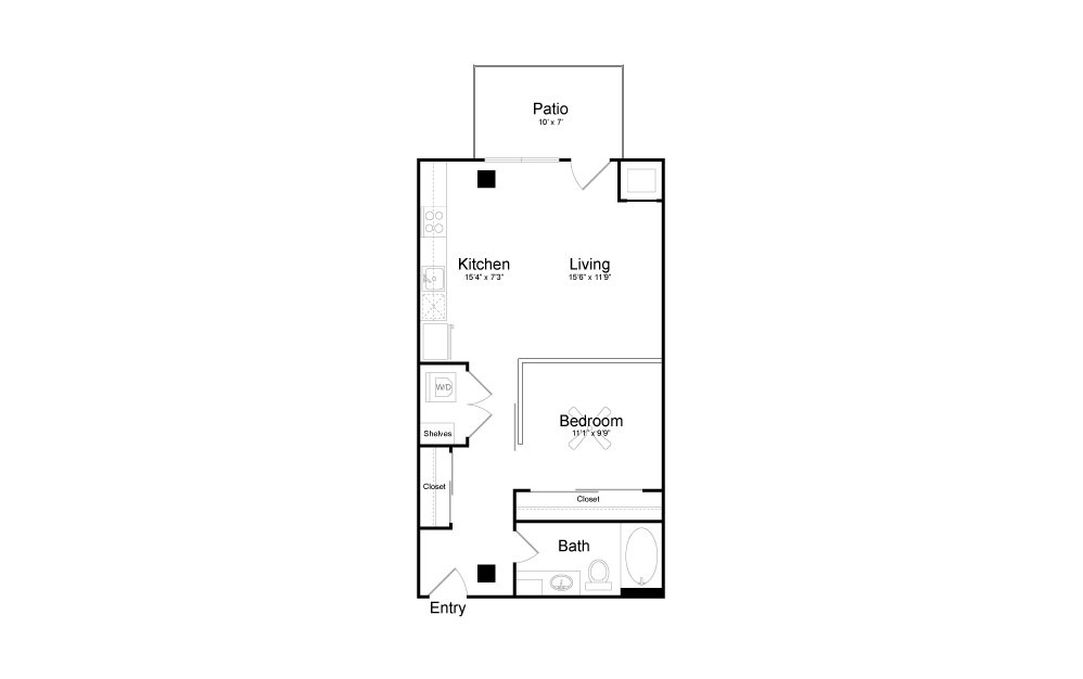A9 - Studio floorplan layout with 1 bath and 676 square feet.