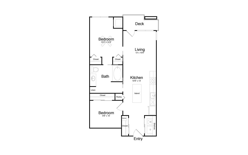 B1 - 2 bedroom floorplan layout with 1 bath and 788 square feet.