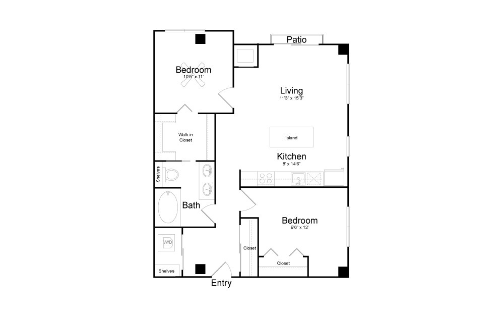 B10 - 2 bedroom floorplan layout with 1 bath and 922 square feet.