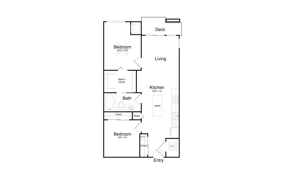 B2 - 2 bedroom floorplan layout with 1 bath and 816 square feet.