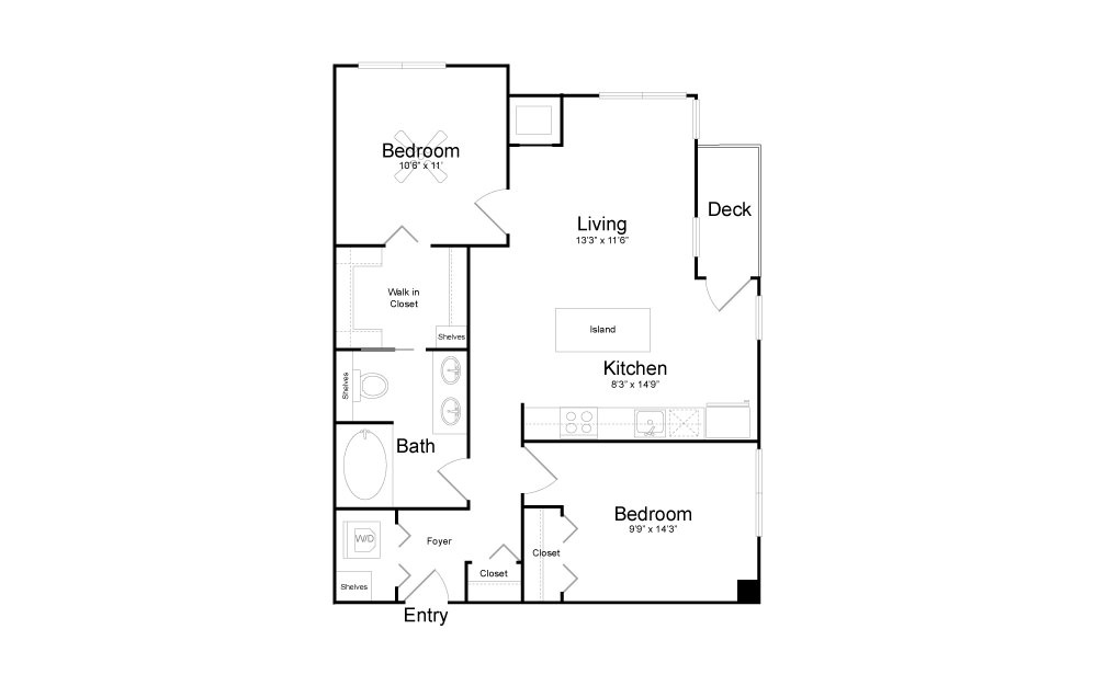 B5 - 2 bedroom floorplan layout with 1 bath and 879 square feet.