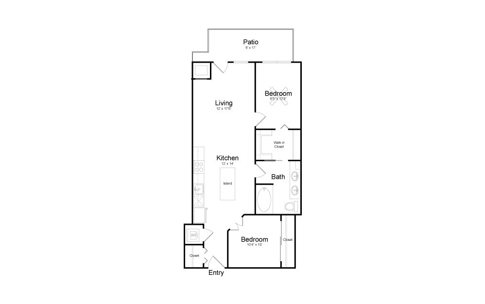 B8 - 2 bedroom floorplan layout with 1 bath and 893 square feet.