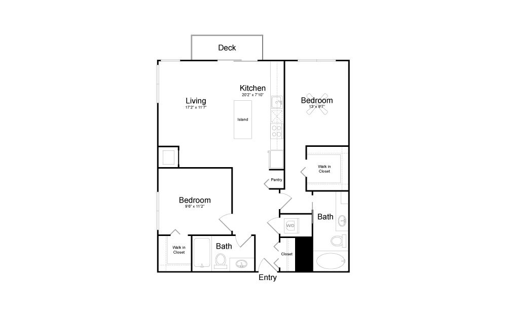 C5 - 2 bedroom floorplan layout with 2 baths and 1020 square feet.