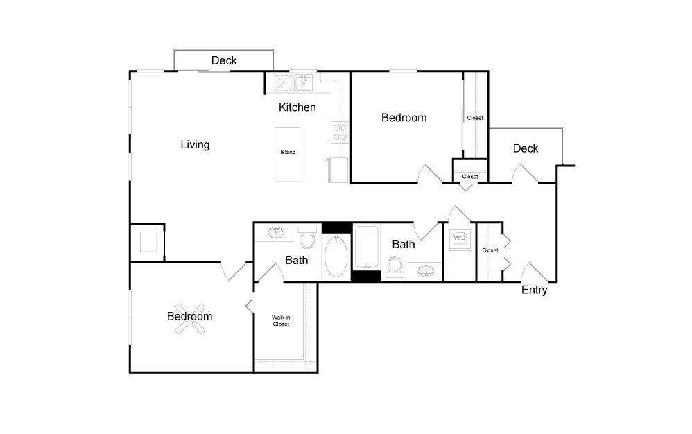 C7 - 2 bedroom floorplan layout with 2 baths and 1029 square feet.