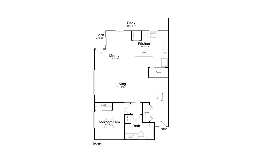 CD2 - 2 bedroom floorplan layout with 2 baths and 1390 square feet. (Floor 1)