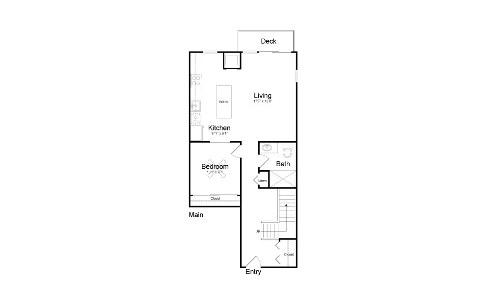 CD4 - 2 bedroom floorplan layout with 2 baths and 1409 square feet. (Floor 1)