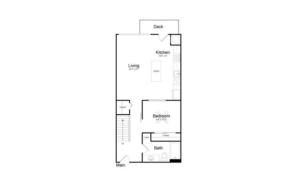 CD5 - 2 bedroom floorplan layout with 2 baths and 1099 square feet. (Floor 1)