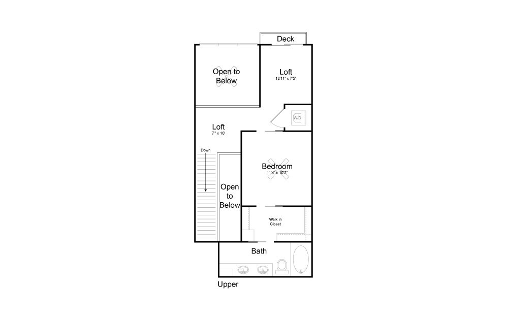 CD5 - 2 bedroom floorplan layout with 2 baths and 1099 square feet. (Floor 2)