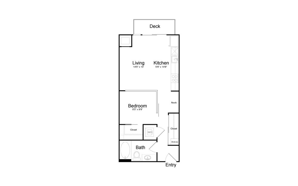 V1 - Studio floorplan layout with 1 bath and 572 square feet.