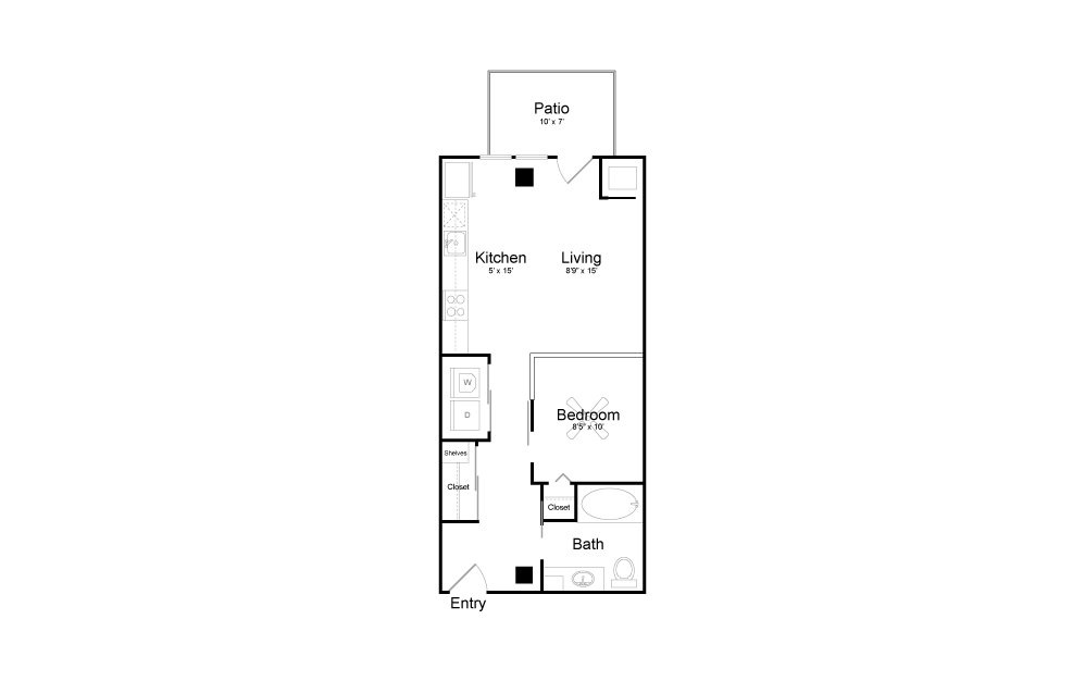V2 - Studio floorplan layout with 1 bath and 572 square feet.