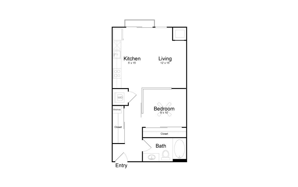 V3 - Studio floorplan layout with 1 bath and 577 square feet.