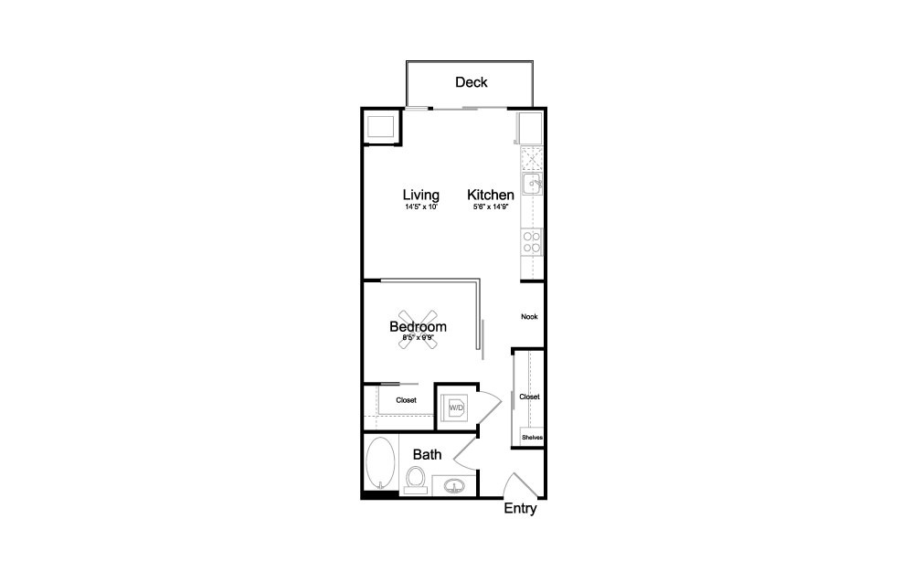V4 - Studio floorplan layout with 1 bath and 602 square feet.